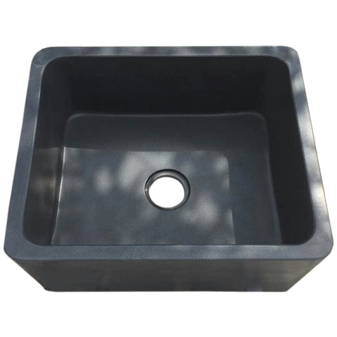 "Allstone Group 24"" Black Lava Reversible Farmhouse Kitchen Sink KF242010-BL"