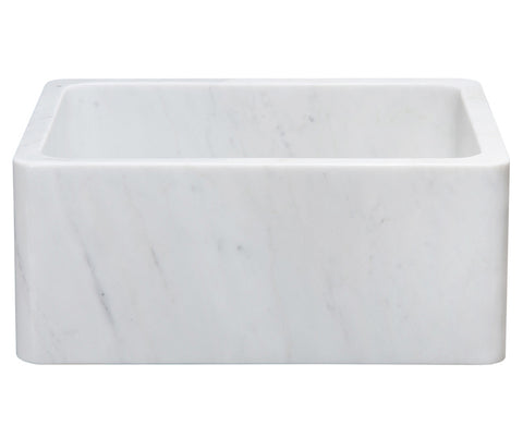 "Stone Farmhouse Sink, 24"", Carrara White Marble, Single Bowl, Reversible Allstone Group, KF242010-CW"