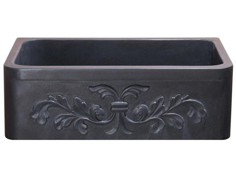 "Stone Farmhouse Sink, 30"", Black Lava, Floral Pattern, Single Bowl, Allstone Group, KF302010SB-F2-BL"
