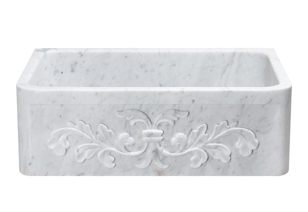 "Stone Farmhouse Sink, 30"", Carrara White Marble, Single Bowl, Floral Pattern, Allstone Group, KF302010SB-F2-CW"