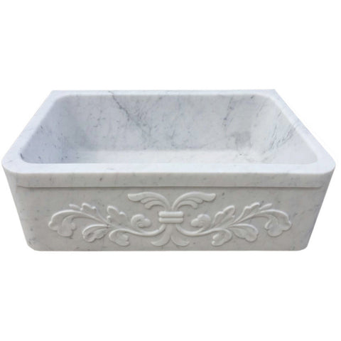 "Allstone Group 30"" Carrara White Marble Floral Pattern Farmhouse Kitchen Sink KF302010SB-F2-CW"
