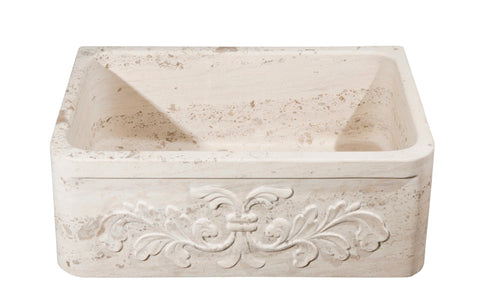 "Allstone Group 30"" Perlina Limestone Floral Pattern Farmhouse Kitchen Sink KF302010SB-F2-PL"