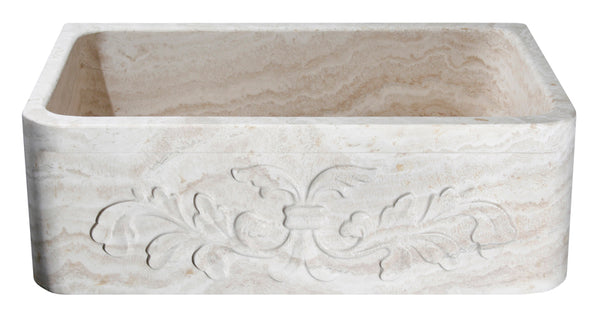 "Stone Farmhouse Sink, 30"" Roma Travertine, Single Bowl, Allstone Group, KF302010SB-F2-RT-#1"