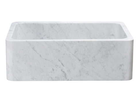 "Stone Farmhouse Sink, 30"", Carrara White Marble, Single Bowl, Reversible Allstone Group, KF302010SB-NLP-CW"