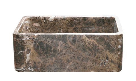 "Stone Farmhouse Sink, 30"" Emperador Dark Marble, Reversible, Single Bowl, Allstone Group, KF302010SB-NLP-EPD"