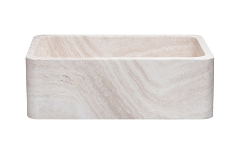 "Stone Farmhouse Sink, 30"" Roma Travertine, Single Bowl, Reversible, Allstone Group, KF302010SB-NLP-RT"