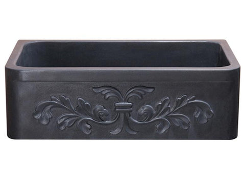 "Stone Farmhouse Sink, 33"", Black Lava, Floral Pattern, Single Bowl, Allstone Group, KF332010SB-F2-BL"