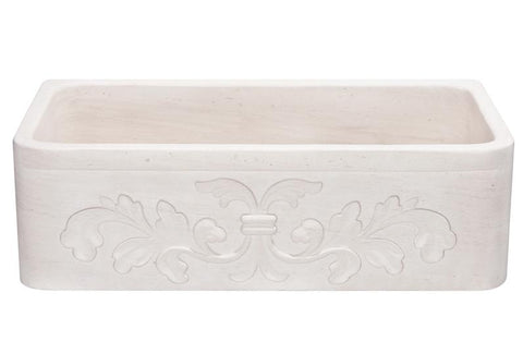 "Stone Farmhouse Sink, 33"" Crema Lyon-Limestone with Floral Carving, Single Bowl, Allstone Group, KF332010SB-F2-CL"