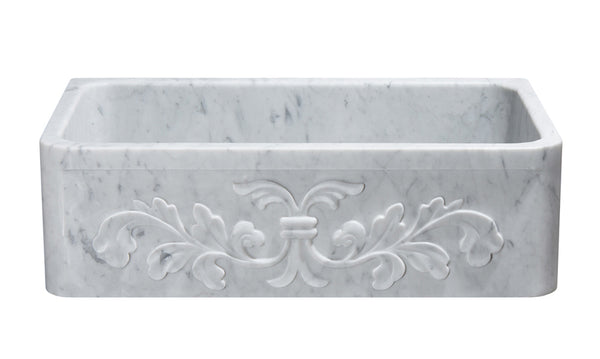"Stone Farmhouse Sink, 33"", Carrara White Marble, Single Bowl, Floral Pattern, Allstone Group, KF332010SB-F2-CW"
