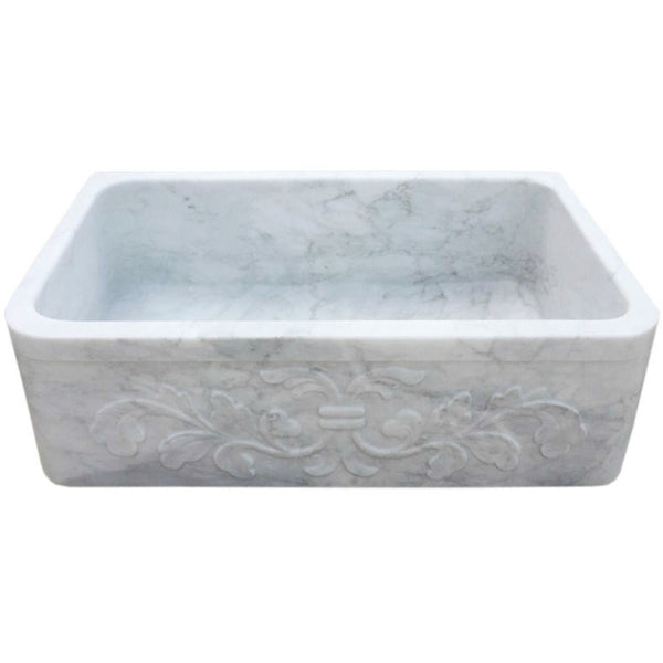 "Allstone Group 33"" Carrara White Marble Floral Pattern Farmhouse Kitchen Sink KF332010SB-F2-CW"