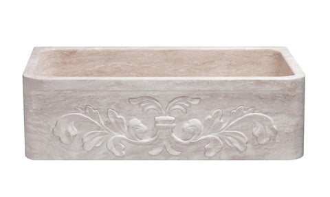 "Stone Farmhouse Sink, 33"" Roma Travertine, Single Bowl, Floral Carving, Allstone Group, KF332010SB-F2-RT"