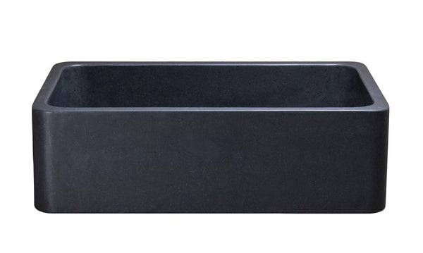 "Black Granite Farmhouse Sink, 33"", Single Bowl, Allstone Group, KF332010SB-NLP-BK - Showroom Sinks"