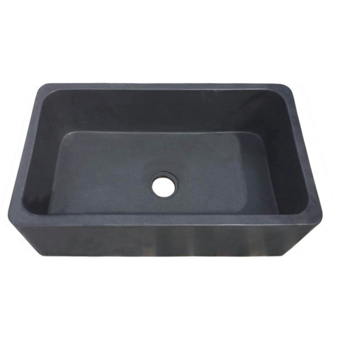 "Allstone Group 33"" Black Lava Reversible Farmhouse Kitchen Sink KF332010SB-NLP-BL"