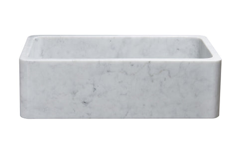 "Stone Farmhouse Sink, 33"", Carrara White Marble, Single Bowl, Reversible Allstone Group, KF332010SB-NLP-CW"