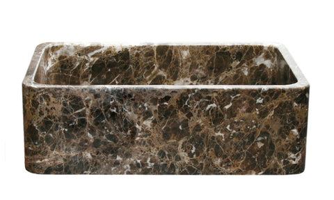 "Stone Farmhouse Sink, 33"" Emperador Dark Marble, Reversible, Single Bowl, Allstone Group, KF332010SB-NLP-EPD"