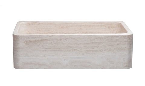 "Stone Farmhouse Sink, 33"" Roma Travertine, Single Bowl, Reversle, Allstone Group, KF332010SB-NLP-RT"
