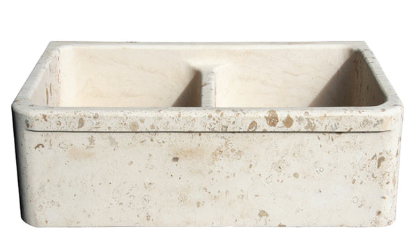 Stone Farmhouse Sink 36 Quot Perlina Limestone Double Bowl