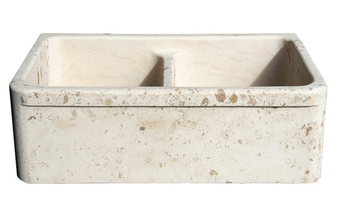 "Stone Farmhouse Sink, 36"", Perlina Limestone, Double Bowl, With Lip, Allstone Group, KF362010DB-5050-PL"