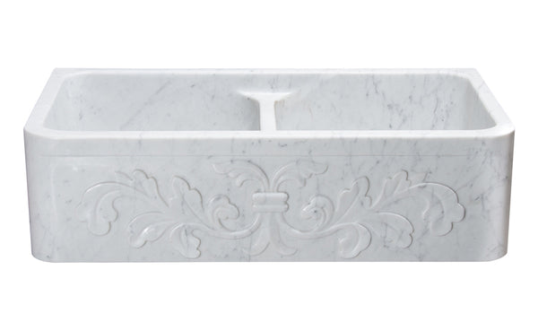 "Stone Farmhouse Sink, 36"", Carrara White Marble, Double Bowl, Floral Pattern, Allstone Group, KF362010DB-F2-5050-CW"