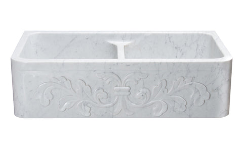 "Allstone Group 36"" Carrara White Marble Floral Pattern Double Bowl Farmhouse Kitchen Sink KF362010DB-F2-5050-CW"