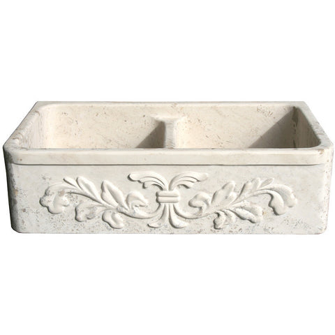 "Allstone Group 36"" Perlina Limestone Double Basin Floral Pattern Farmhouse Kitchen Sink KF362010DB-F2-5050-PL"