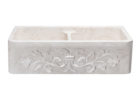 "Stone Farmhouse Sink, 36"" Roma Travertine with Floral Carving, Double Bowl, Allstone Group, KF362010DB-F2-5050-RT"