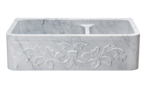 "Stone Farmhouse Sink, 36"", Carrara White Marble, Double Bowl, Floral Pattern, Allstone Group, KF362010DB-F2-6040-CW"