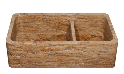 "Stone Farmhouse Sink, 36"", Walnut Travertine, Reversible, Double Bowl, Allstone Group, KF362010DB-NLP-6040-WT-#2"