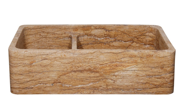 "Stone Farmhouse Sink, 36"", Walnut Travertine, Reversible, Double Bowl, Allstone Group, KF362010DB-NLP-6040-WT-#1"