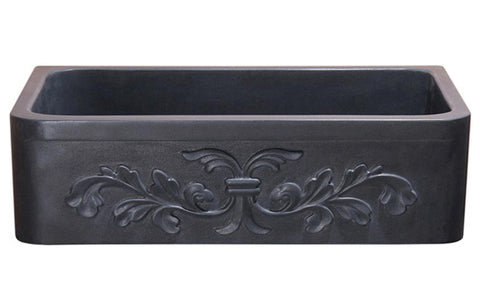 "Stone Farmhouse Sink, 36"", Black Lava, Floral Pattern, Single Bowl, Allstone Group, KF362010SB-F2-BL"
