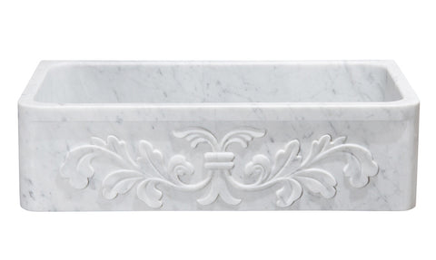 "Stone Farmhouse Sink, 36"", Carrara White Marble, Single Bowl, Floral Pattern Allstone Group, KF362010SB-F2-CW"