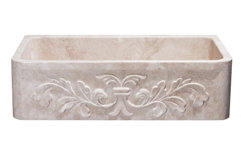 "Stone Farmhouse Sink, 36"" Roma Travertine, Single Bowl, Floral Carving, Allstone Group, KF362010SB-F2-RT"
