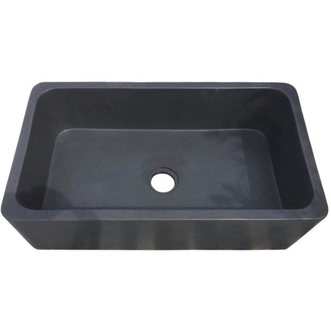"Allstone Group 36"" Black Lava Reversible Farmhouse Kitchen Sink KF362010SB-NLP-BL"