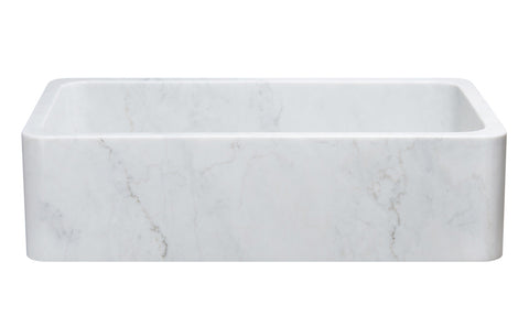 "Allstone Group 36"" Carrara White Marble Reversible Farmhouse Kitchen Sink KF362010SB-NLP-CW"