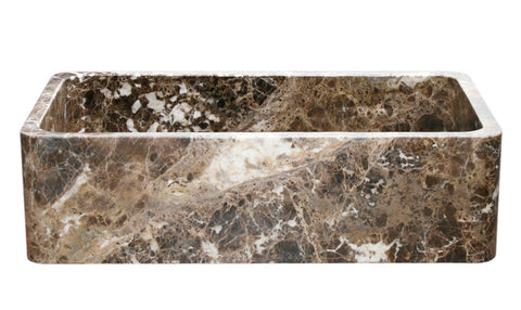 "Stone Farmhouse Sink, 36"" Emperador Dark Marble, Reversible, Single Bowl, Allstone Group, KF362010SB-NLP-EPD"