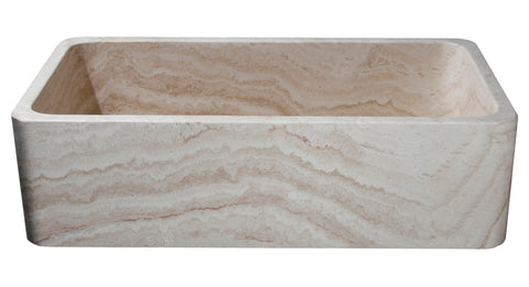 "Stone Farmhouse Sink, 36"" Roma Travertine, Single Bowl, Allstone Group, KF362010SB-NLP-RT-#1"