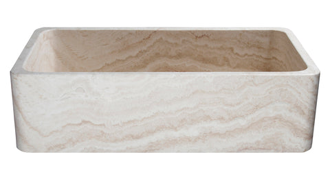 "Stone Farmhouse Sink, 36"" Roma Travertine, Single Bowl, Allstone Group, KF362010SB-NLP-RT-#2"