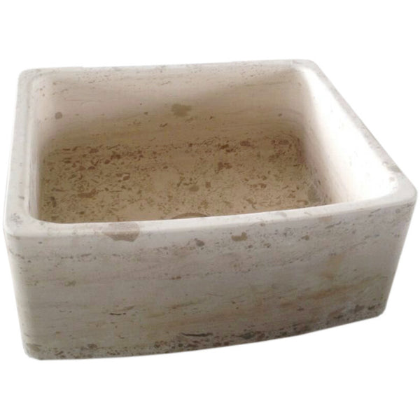 "Allstone Group 24"" Perlina Limestone Curved Front Farmhouse Kitchen Sink KFCF242110-PL"