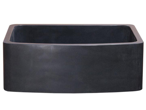 "Stone Farmhouse Sink, 30"", Black Lava, Curved Apron, Single Bowl, Allstone Group, KFCF302210SB-NLP-BL"