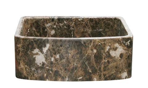 "Stone Farmhouse Sink, 30"" Emperador Dark Marble, Curved Apron, Single Bowl, Allstone Group, KFCF302210SB-NLP-EPD"