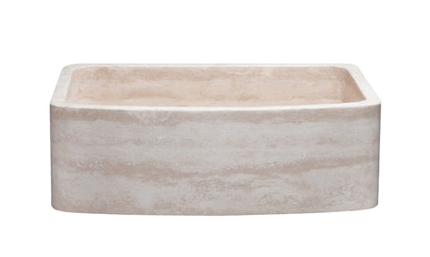"Stone Farmhouse Sink, 30"" Roma Travertine, Single Bowl, Curved Apron, Allstone Group, KFCF302210SB-NLP-RT"