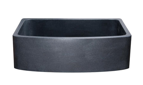 "Black Granite Farmhouse Sink, 33"", Single Bowl, Curved Apron, Allstone Group, KFCF332210SB-NLP-BK - Showroom Sinks"