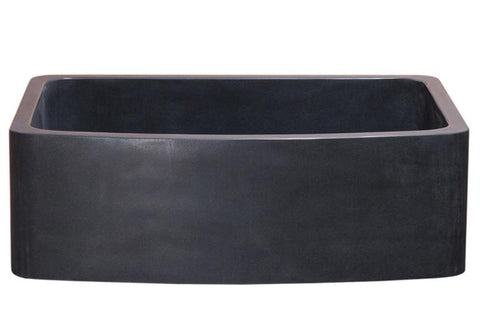 "Stone Farmhouse Sink, 33"", Black Lava, Curved Apron, Single Bowl, Allstone Group, KFCF332210SB-NLP-BL"