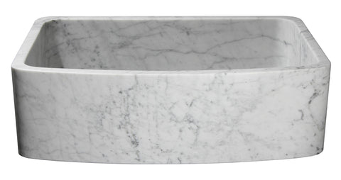 "Stone Farmhouse Sink, 33"" Carrara Marble, Curved Front, Single Bowl, Allstone Group, KFCF332210SB-NLP-CW"
