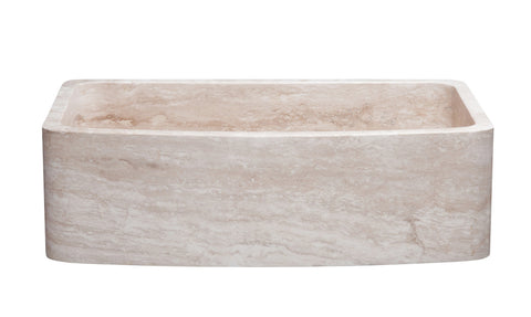 "Stone Farmhouse Sink, 33"" Roma Travertine, Single Bowl, Curved Apron, Allstone Group, KFCF332210SB-NLP-RT"