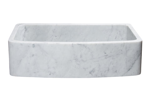 "Stone Farmhouse Sink, 36"", Carrara White Marble, Single Bowl, Curved Apron, Allstone Group, KFCF362210SB-NLP-CW"