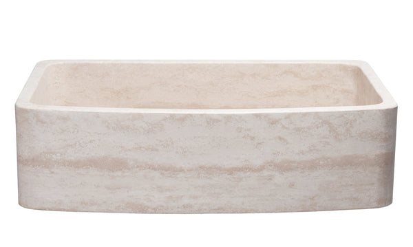 "Stone Farmhouse Sink, 36"", Roma Travertine, Curved Front, Single Bowl, Allstone Group, KFCF362210SB-NLP-RT"