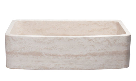 "Allstone Group 36"" Roma Travertine Curved Front Farmhouse Kitchen Sink KFCF362210SB-NLP-RT"