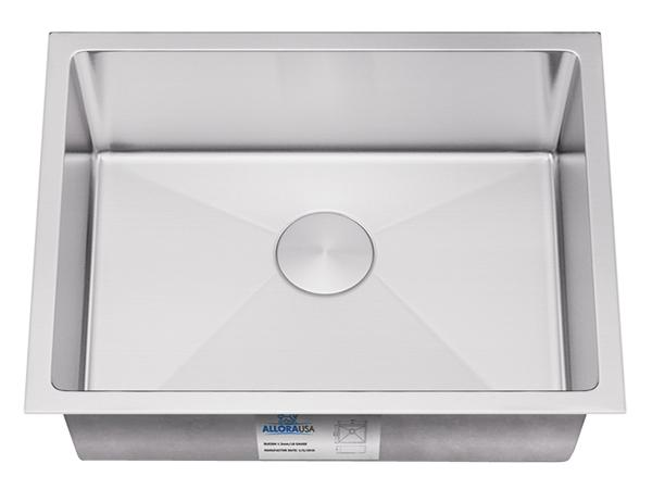 "Allora 23"" Handmade Stainless Steel Undermount Kitchen Sink, Single Bowl, KH-2318-R15 - Showroom Sinks"