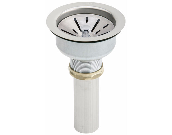 Elkay Drain Fitting 3-1/2 Stainless Steel Body, Strainer Basket and Tailpiece, LK35B